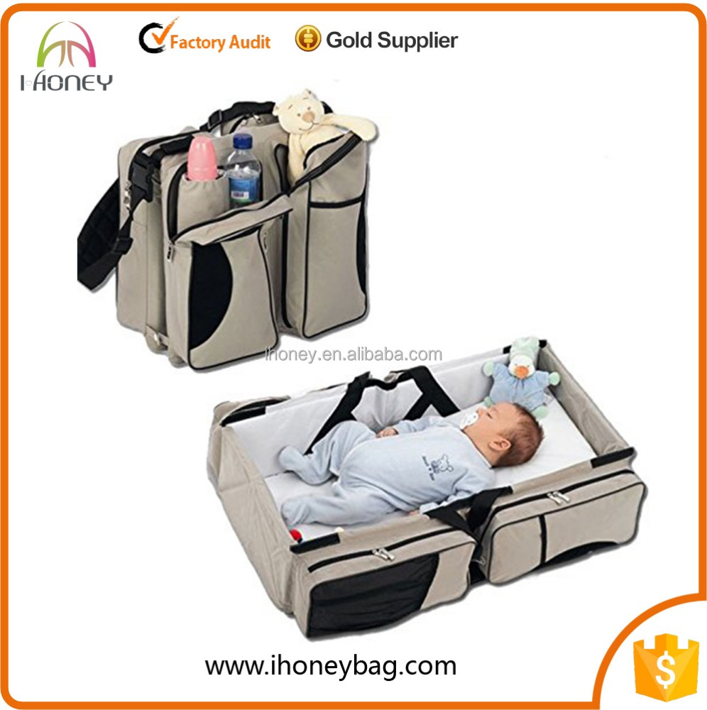 Foldable Baby New Premium Bag Changing Station Bed Bag Nylon Travel Diaper Bag
