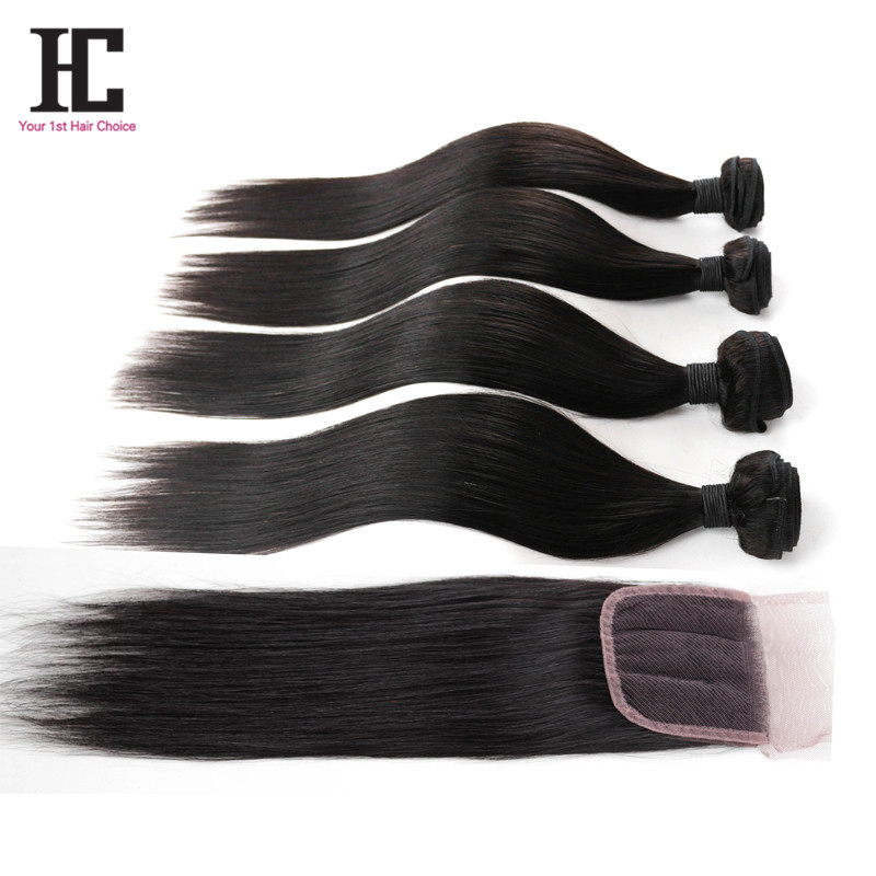 Brazilian Virgin Hair With Closure 4PCS Lot Lace Closure With Bundles 100% Human Hair Weave 7A Brazillian Hair With Closure HC