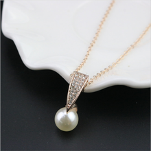 Delicate full diamond pearl pendant necklace fashion cheap statement jewelry set