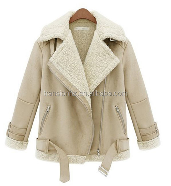 ladies high fashion faux suede jacket/coat with sherpa fleece inside cowl collar