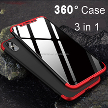 2018 3 in 1 full body 360 degree smart clear tempered glass screen protector shockproof hard pc phone cover case for iphone x