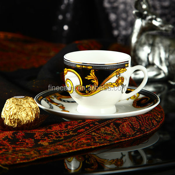 100CC Luxury Fine Bone China Black and White Cup and Saucer of Knight