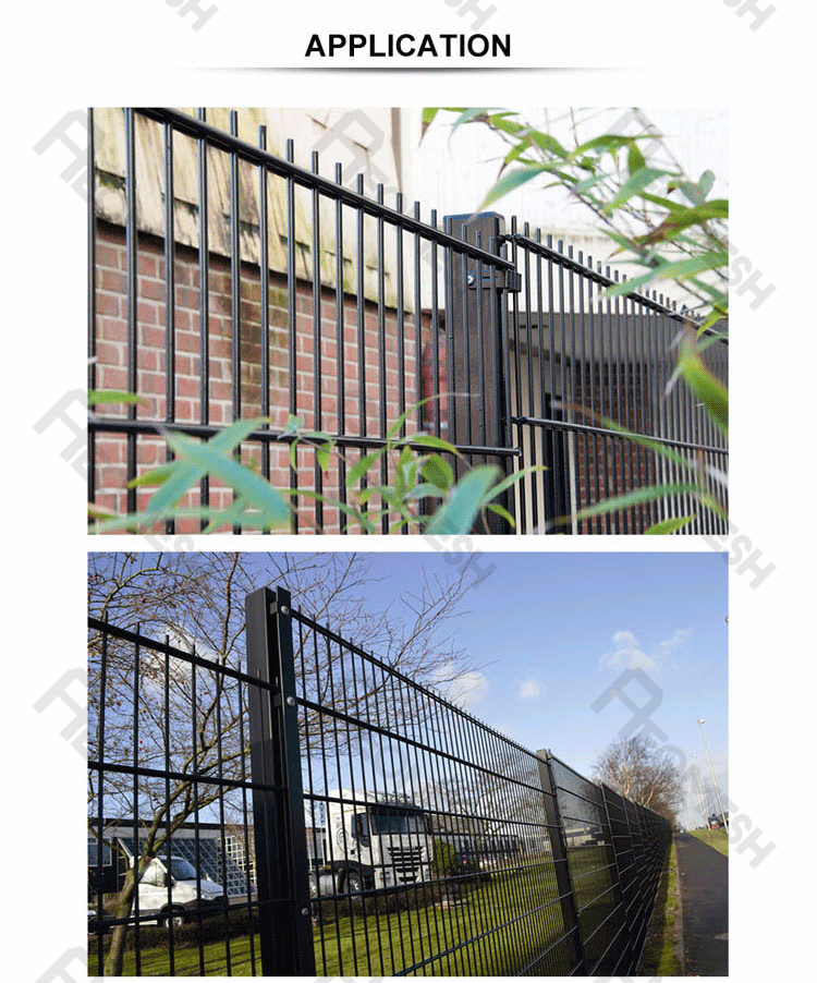 Made in Guangzhou Professional Factory Barbed wire at top Galvanized Double Wire Fence