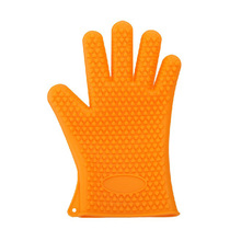 Household kitchen tool waterproof silicone gloves high temperature heat resistant non-slip bbq oven baking mitts teal