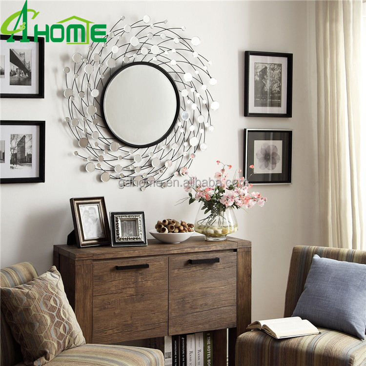 2016 new design crystal glass beautiful unique framed decorative dressing mirror wall mirror