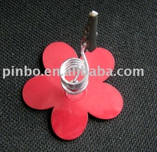 flower shaped metal pen clip holder