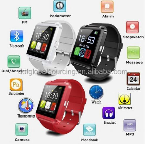 New Bluetooth 1.44 inch Touch Screen U8 Smart Watch Phone Mate For Android iOS Samsung HTC Wrist Watch