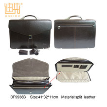 Design company famous brand black color briefcase two carry ways cross body split leather bag