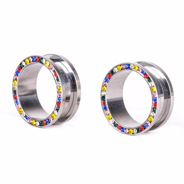 Surgical steel flesh tunnel piercing women earrings tunnel plugs with gems