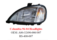 Freightliner Columbia Headlight, auto head lamp for Freightliner truck parts A06-32496-006/007
