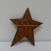 Wholesale small metal tin star with flower patterns for Christmas decor