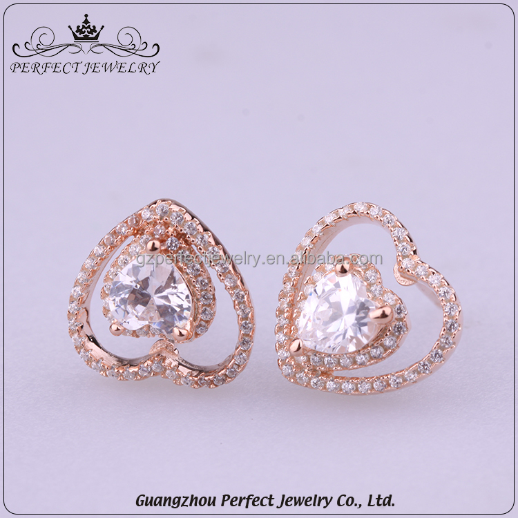 Newest Design Simpe Heat Shape Women Style 925 Silver Beautiful Crystal Stud Earring For Gift