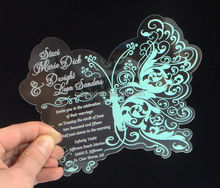 Beautiful acrylic butterfly invitation with blue color printing custom