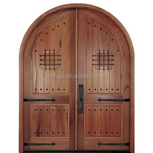 arch/ round top double Wooden door safety door design with grill