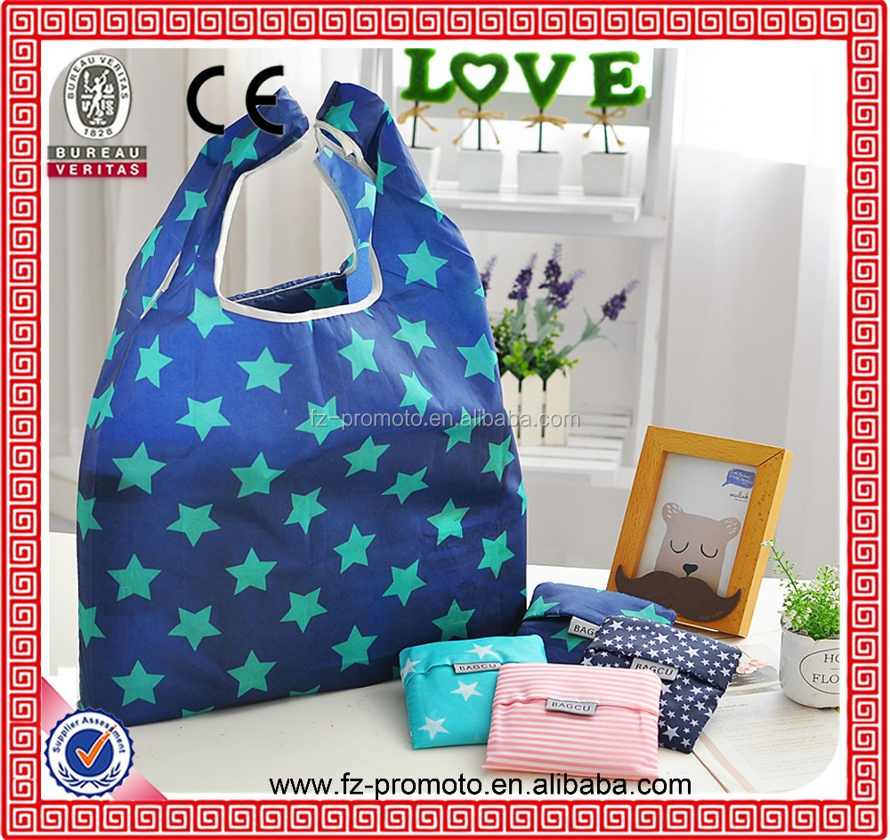 Promotional Eco Reusable folding shopping bag Recycle foldable bags with pouch for sale
