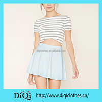 Chic Guangzhou Factory Price Custom New Arrival Light Blue Skater Denim Mini Skirt
