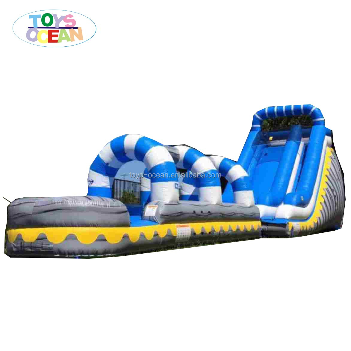 Double Lane Used Inflatable Dry Slide Blue Big Slides For Sale