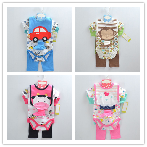 Baby clothing set cotton romper 5 pcs set romper pants bib