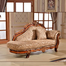 French Elegant Wood Carved Chaise from China Factory Home/ Hotel Furniture Classic Fabric Chesterfield Antique Chaise Lounge