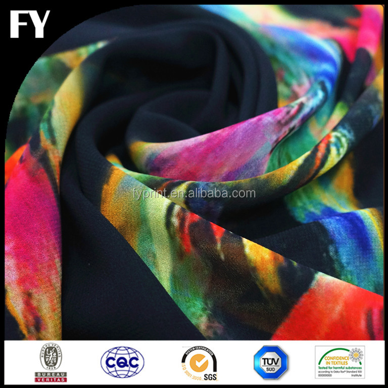 Reliable quality custom digital printed iridescent silk fabric