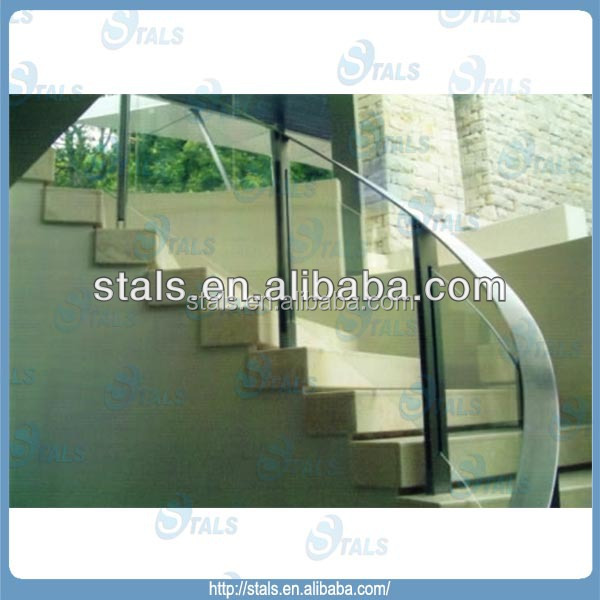 2014 wholesale low glass stair railing cost high quality staircase railing tempered glass hot selling glass railing holder