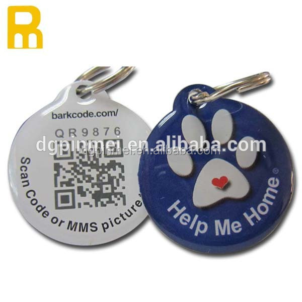 Cheap custom laser qr pet tags with small ring for wholesale / qr pet tags with serial id code