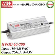 Meanwell led waterproof 700ma power supply HVGC-65-700