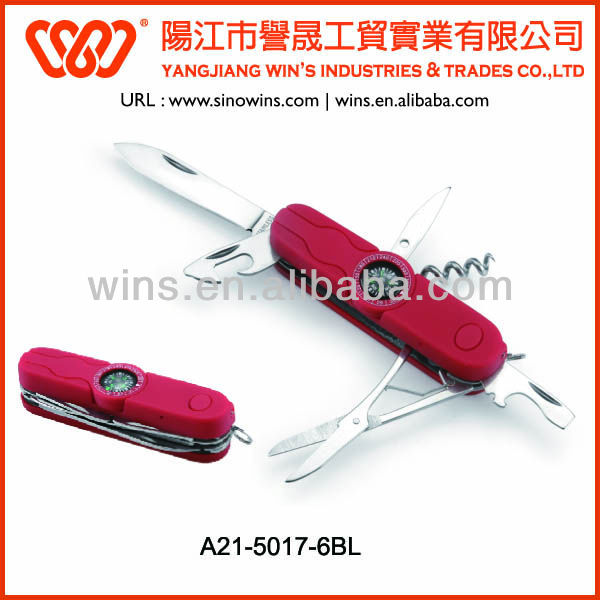 Stainless Steel Blade Rubber Sprayed Plastic Handle Multi Color Pocket Knife