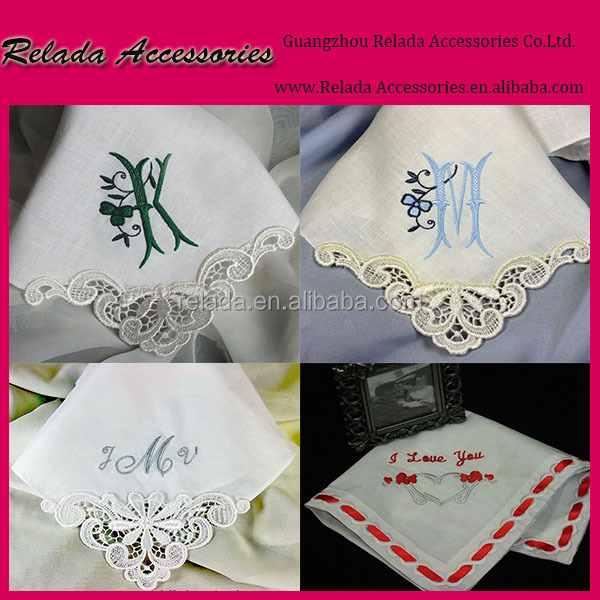 Wholesale white cotton ladies lace handkerchief with lace edged handkerchief