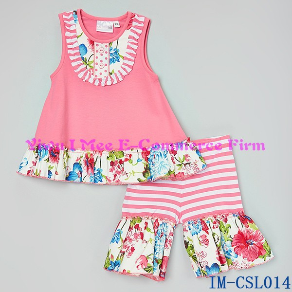 Cheap China Wholesale Kids Clothing Sets Toddler Baby Girls Cotton Ruffle Shorts Outfits Sets for Summer IM-CSL014