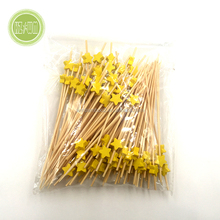 Yellow Flower Canape Cocktail Sticks bamboo skewers 12cm x 100