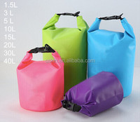 High Quality 500D PVC tarpaulin 5l,10l,20, 30l, 40l with strap and customer logo dry bag, waterproof dry bag