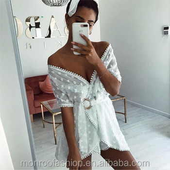 monroo White Dress Women Pin Up Loose Tunic Sexy Dress Mini V-Neck Short Sleeve 2017 Summer Chiffon Dresses Beach Vestidos