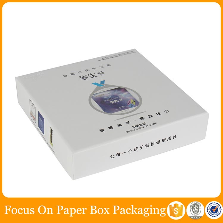 small white cardboard base and lid box with square