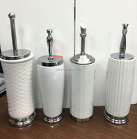Bathroom Accessories standing polished chrome and ceramic toilet brush holder