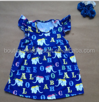 elephant dress pretty girl puffy popular smocked frock tunics dress elephant alphabet pearl flutter dress