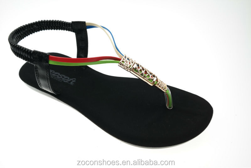 pu injection fashion lady flat sandals
