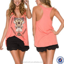 China supplier ladies sleeveless printed latest tops sexy girls casual tank tops for women
