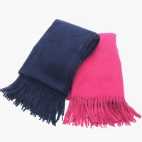 Ladies luxury warm plain embossed cashmere pashmina stole solid color wool fleece winter scarf with tassels