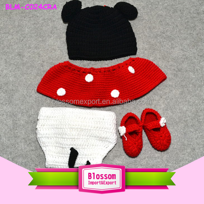 2015 Wholesale baby knitting minne mouse cute animal pattern winter hats fashion baby crochet hats