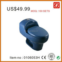 Ceramic bathroom siphon flush blue cheap one piece toilet