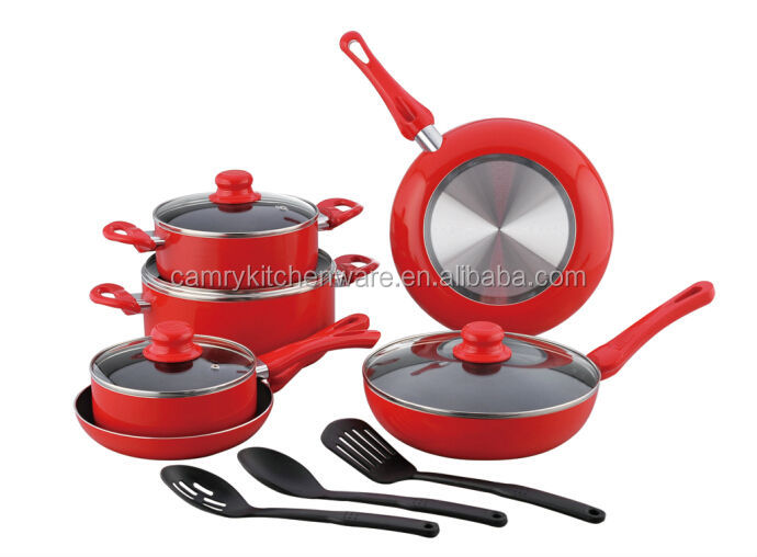 13pcs aluminium cookware set with nylon tools