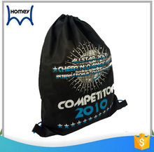 Black custom shopping backpack non woven drawstring bag