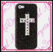 Aidocrystal Fashion bling bling black crystal diamond the cross pattern phone case back cover for LG