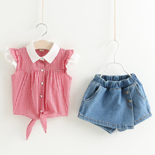 B20286A 2017 Summer korean child baby girl lovely plaid shirt denim short skirt sets
