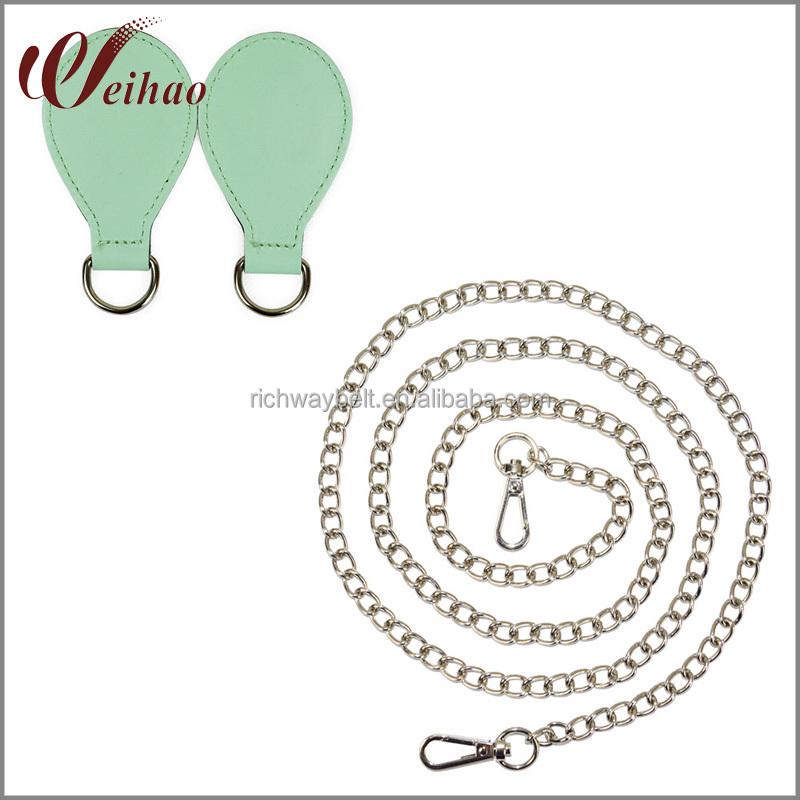 Silver Chain Shoulder Strap with PU Drop Shape Attachment for Obag O basket Strap Chain