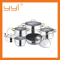 12pcs 12pcs stainless steel cookware set/stainless steel double bottom cooking pot with kettle