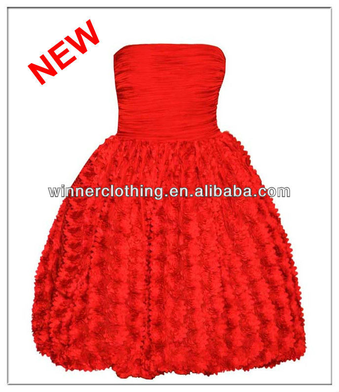 Top Fashion Strapless Ruffles Pleated Club Dresses in Red for Girls