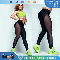 (OEM factory) wholesale fitness Custom Sexy Sports Fitness Gym Leggings/Tights Hot Girls Mesh Yoga Pants