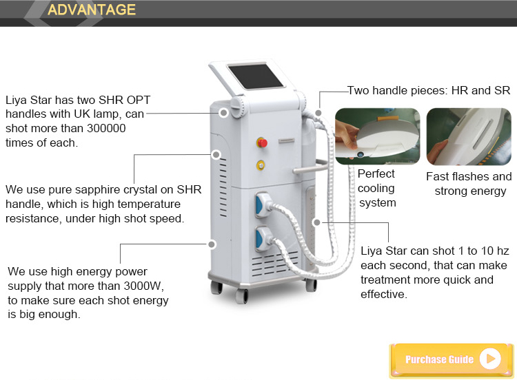 IPL SHR and nd yag laser hait removal and skin tightening beauty machine